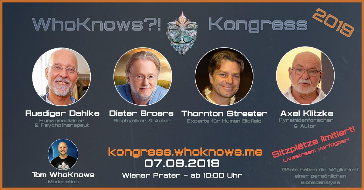 🔷 #WhoKnows?! Kongress 2019 🔷 Dahlke – Broers – Streeter – Klitzke am 07.09.2019 in Wien 🔷